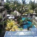 Ocean glimpses thru the trees, excellent pool staff during day