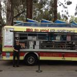 Food cart outside where tour ends BBQ type food. very good
