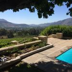 View of the Frranschoek valley from across the pool