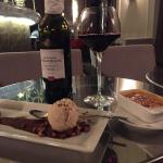 dessert and wine in the lounge