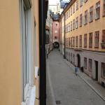 looking outside our window at Gamla Stan