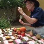 A docent shows Old and New World food
