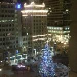 Evening view of Pioneer Square from our room