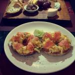 Smoked salmon & scrambled eggs bagel & cheeseboard