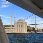 Angles, a mosque and a bridge  from the sea.