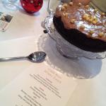 Stout cake with hazelnuts served with Christmas ice cream for the Festive Flowers winter lunch