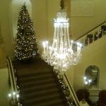 The beautiful Christmas tree and staircase at The Angel hotel