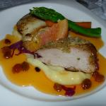 Red snapper, pork, apricot sauce (!)