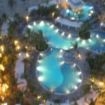Night view of pools below our room - other pools east and west of these