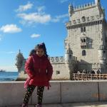 my daughter in front of of Belem tower
