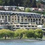 The hotel viewed from the lake