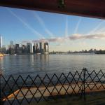 Lower Manhattan and the Brooklyn Bridge from the bow of S.I.F