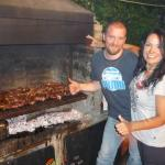 Asado at Hostel Achalay with owner Pablo and P.