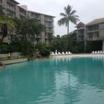 The pool is situated between 3 of the main buildings and has a sandy beach and swim up bar.