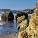 Coast with piled rock stack for interest in foreground