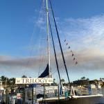 Trilogy catamaran at dock