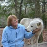 My mother with a wolf named Liberty.