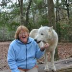My mother with Liberty again. She had just gotten a wolfy kiss! I love her expression!