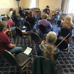 A workshop at our event on how a fiddler can accompany a singer