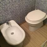 Toilet requires sitting facing the side or your knees hit the bidet