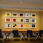nautical flags decorate marina tower lobby