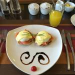 Deliciously presented breakfast - eggs benedict with salmon