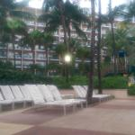 View of one of the hotel blocks from pool side