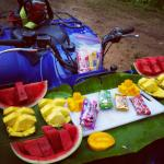 Delicious snack after swimming in the waterfall