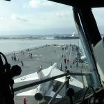 Captain's Chair, looking forward, F-8 Crusader on catapult