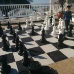 The huge chess board. It is fun!