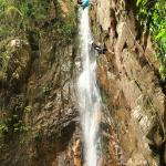 Repelling down the waterfall