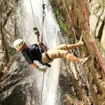 Repelling down the waterfall!