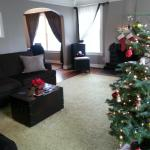 Living room, decorated for Christmas