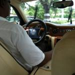 Riding to the airport in the Rolls Royce....nice!