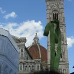 the duomo,bell tower n scaffolded baptistry in the piazza