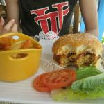 Delicious crocodile and conch burger!