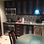 Kitchen/dining table in one bedroom unit.