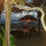 Ocean view from restaurant at night.