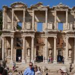 Close-up of facade of Library of Celsus