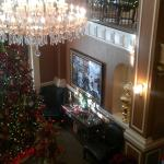 Lobby decorated for Christmas