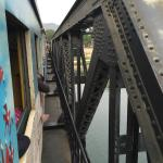 See how close the train goes to the sides of the bridge!