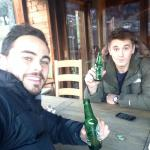 Zac Guilford and jonothan davies enjoying a brew on the outside balcony with above heaters to ke