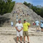 Climbing the ruins at Coba