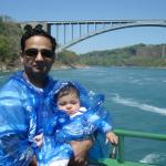 Me and my daughter with Rainbow bridge in the background