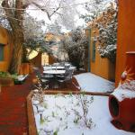 the inner courtyard with a nice dusting snow