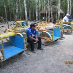 two person transportation carts at Coba riuns