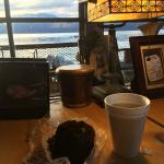 Coffee and a muffin in the office, overlooking the Bay