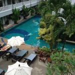 View from balcony to the pool