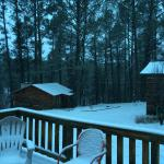 Our snowy, beautiful cabin, at Idle Cabins.