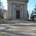 Front entrance to US Naval Academy Chapel in Annapolis Maryland.